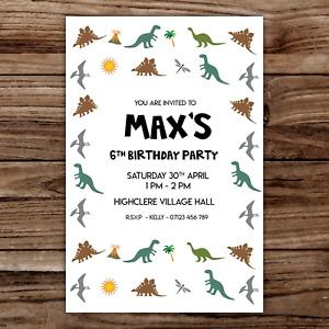 10 *PERSONALISED* invitations DINOSAUR party BIRTHDAY invites
