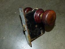 Matching Pair Wood Brass Door Knobs U0026 Rosettes Cast Iron Mortise Lock 1870u0027s