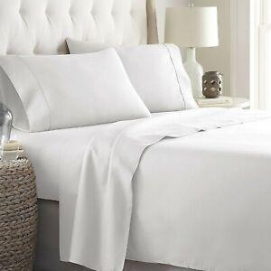 White Solid Royal 4 Piece Sheet Set 1000 TC Egyptian Cotton Full Size