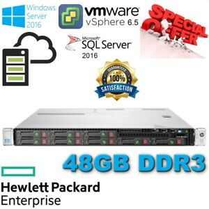 HP ProLiant DL360e Gen8 2x E5-2403 8-Core Xeon 48GB DDR3 2x60GB SSD Disk B120i