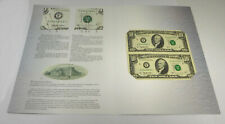 1995 $10 Federal Reserve STAR Notes- Uncut UNC Sheet Of 2 In Folio