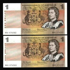 1966 $1 PAPER DECIMAL B/NOTES 1ST ISSUE CONSEC PAIR..COOMBS/WILSON..SCARCE.