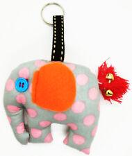 Keyring Scotch Doll Elephant Pattern Sewing Charm Cute Fabric animal lover