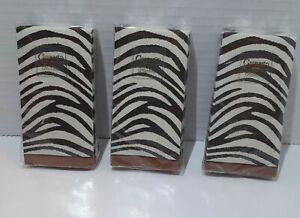 Caspari Hankies Serengeti 4-Ply Lot of 3 (10 Hankies Ea) Zebra Print Dark Brown