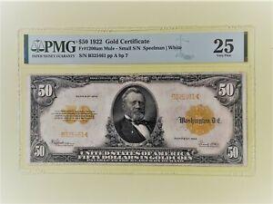 1922 $50 GOLD CERTIFICATE Fr 1200am PMG VF-25 Mule