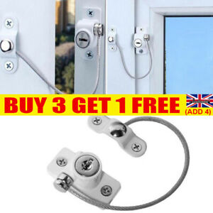 Window Door Restrictor Safety Locking UPVC Child Security Wire Cable White YE47