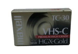 New Maxell VHS-C TC-30 HGX-Gold Videocassette Tape for Camcorder