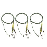 80cm Strong Leadcore Leaders Carp Fishing Hair Rigs with Swivel Sleeve Snap
