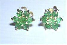 9CT 9 CARAT YELLOW GOLD EMERALD FLOWER FLORAL STUD EARRINGS BUTTERFLY BACKS