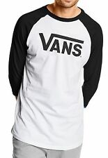 VANS New Mens Classic Logo Long Sleeve Raglan T-Shirt Print Top Tee Black White