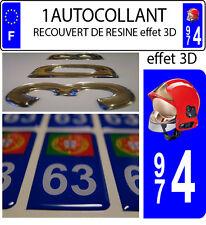 1 sticker plaque immatriculation auto DOMING 3D RESINE CASQUE F1POMPIER DEPA 974