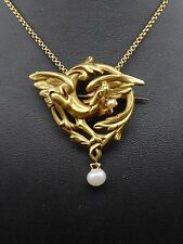 Superbe ancien pendentif broche chimère en or 18K et perles Art Nouveau 1900