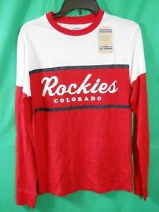 Retro NHL Colorado Rockies Long Sleeve Tshirt Red White sizes S,M,XL,2XL (B208)