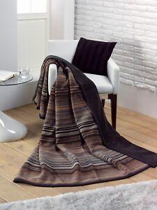 IBENA Gorgeous Chocolate Striped Reversible Woven Cotton Blend Throw Blanket