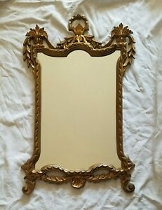 Vintage Italian Wall Hanging Mirror Ornate Gold gilded Hollywood Regency Resin