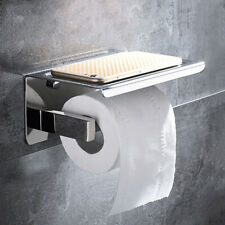 Toilet Paper Holder Tissue Roll Storage With Phone Stand Wall Mounted Bathroom