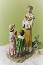 Mary Statue Our Lady of LaSalette and Children Tear Roses Pliars 12 inch