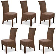 KMH® 6er Set Esszimmerstuhl braun Korbstuhl Stuhl Rattanstuhl Küchenstuhl Rattan