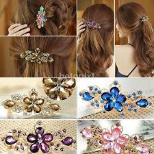 New Fashion Women Jewelry Crystal Rhinestone Flower Hair Barrette Clip Hairpin