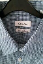 "Calvin Klein Azul Mini Cuadros Algodón Slim Fit Shirt talla 17"" estilo 104860 Nuevo"