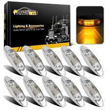 10X Sealed Amber 3Led Clearance Side Marker Trailer Light Fish Shape Clear Lens