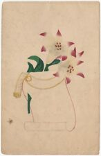 Mid 19th century Watercolor Still Life of Lillies and a Scroll