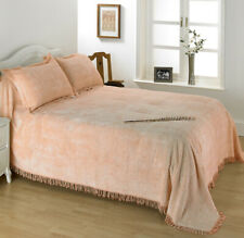 *CLEARANCE* Diana Cowpe Traditional Candlewick Geneva Bedspread / Throw - Peach