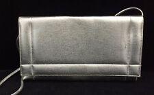 Vintage ANDE Metallic Silver Formal Evening Bag Purse w/ Long Strap (RF306)