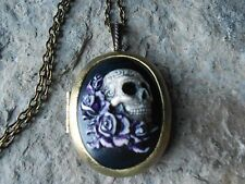 BRONZE LOCKET -- SKULL AND ROSES, HAND PAINTED, MEXICAN SUGAR SKULL CAMEO LOCKET