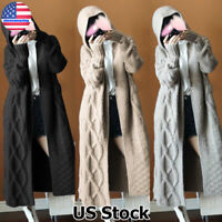 Womens Chunky Knitted Long Cardigan Sweater Coat Casual Hoodie Outwear Jacket US