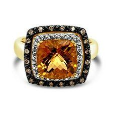 Levian ® Anillo Canela Citrino ® ® Diamantes De Chocolate Blanco Zafiro 14K Oro Miel