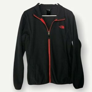 The North Face Boys Grey and Orange Fleece Size 18/20 Full Zip Pockets