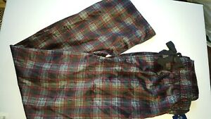 Fruit of the Loom Velvety Plaid Black Maroon Lounge/Sleep Pant S Pajama New