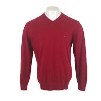 Tommy Hilfiger Jumper Red V Neck 100% Cotton XL Mens