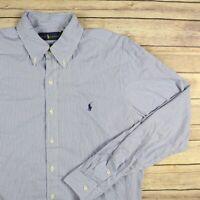 RALPH LAUREN Men's Long Sleeve Button Front Shirt L Large Blue Striped