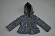 Girls Baby Gap Black and White Fleece Lined Hooded Coat Size 3