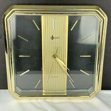 Vintage Alaron Gold Clear Wall Clock Works London MCM Mid Century QC 3239 HTF