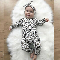 Newborn Infant Baby Boys&Girls Leopard Print Romper Jumpsuit Headband Outfits