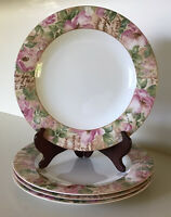 "Royal Doulton~Everyday Fine China~ Poetic Rose~Four 10 3/4"" Dinner Plates"