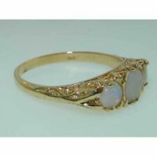 9ct Yellow Gold Ladies Opal Anniversary Eternity Trilogy Ring