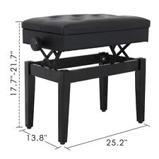 PU Leather Height Adjustable Padded Piano Bench With Music Storage - Black
