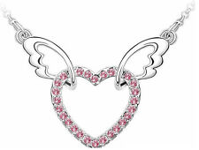 Angel Heart and Wing - Red Crystal Necklace