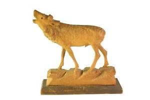 Vtg Antique Black Forest Carved Wood Art Stag / Elk Glass Eye Sculpture Figurine