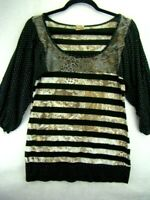 Women's Daytrip Blouse Shirt Size Large Long Sleeve Black Stripe Rayon Top V4-30