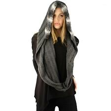 Winter Soft Pullover Faux Fur Hoodier Knit Ski Hood Loop Infinity Scarf Gray