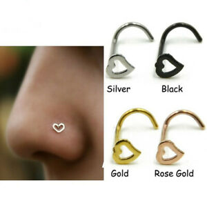 New 1 PC Heart Nose stud L Shaped 20G Ring Screw Body Piercing Jewellery