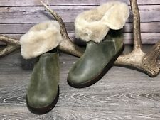 Women's Skechers Green Leather Fur Lined Fold Down Ankle Winter Boots Sz 9 EXC!