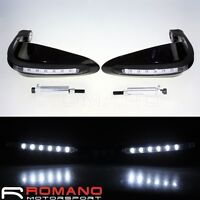 LED 7/8'' Motorcycle DRL Turn Signal Light Brush Handle Bar Hand Guard Protector