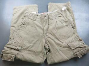 mens aeropostale pants 100% cotton beige straight leg cargo size 27/28 NWT