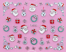 Christmas SILVER Snowflake Santa Gift Xmas Bauble Wreath Nail Art Sticker Decal